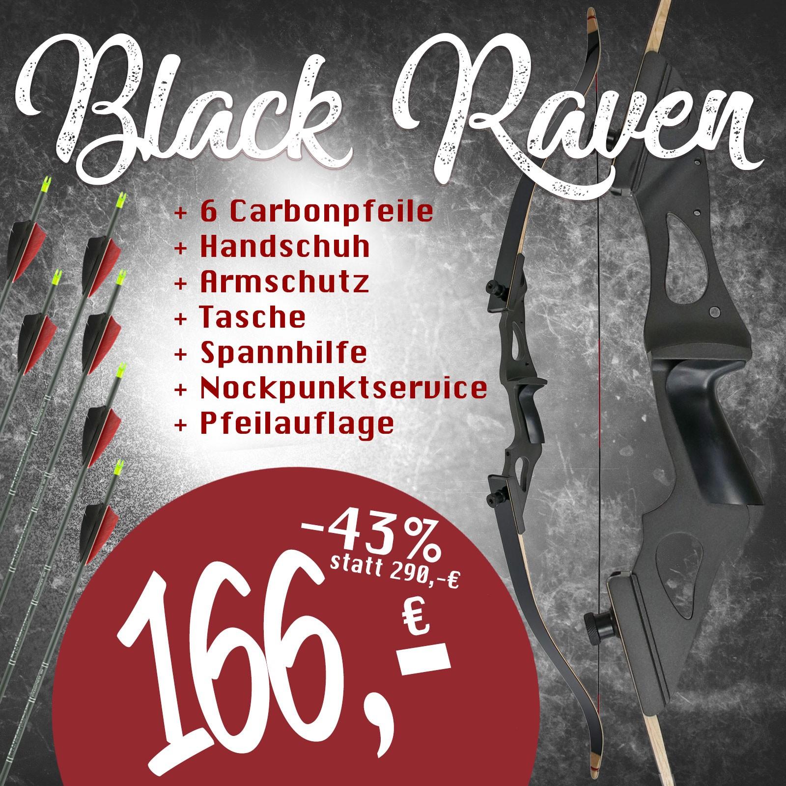Take Down Recurvebogen 58 Zoll DRAKE Black Raven 25-60 lbs